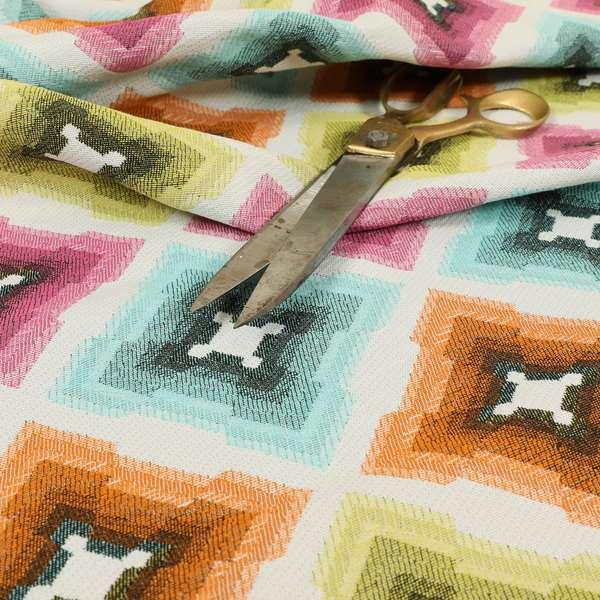 Carnival Living Fabric Collection Multi Colour Geometric Pattern Upholstery Curtains Fabric JO-667