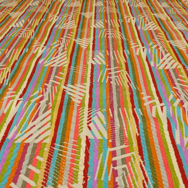 Amazilia Velvet Collection Multi Coloured Geometric Abstract Pattern Soft Velvet Upholstery Fabric JO-682