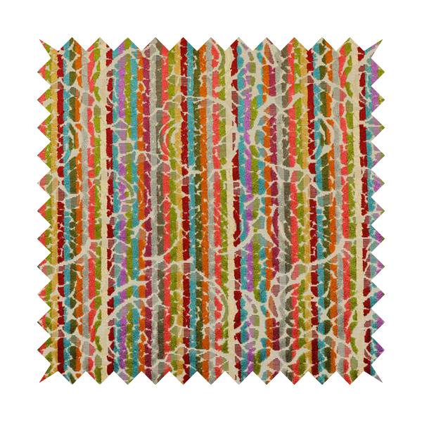 Amazilia Velvet Collection Multi Coloured Geometric Floral Pattern Soft Velvet Upholstery Fabric JO-684
