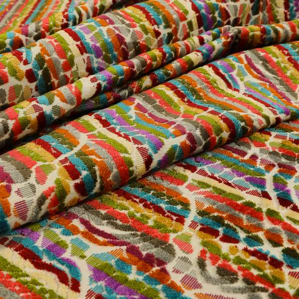 Amazilia Velvet Collection Multi Coloured Geometric Floral Pattern Soft Velvet Upholstery Fabric JO-684