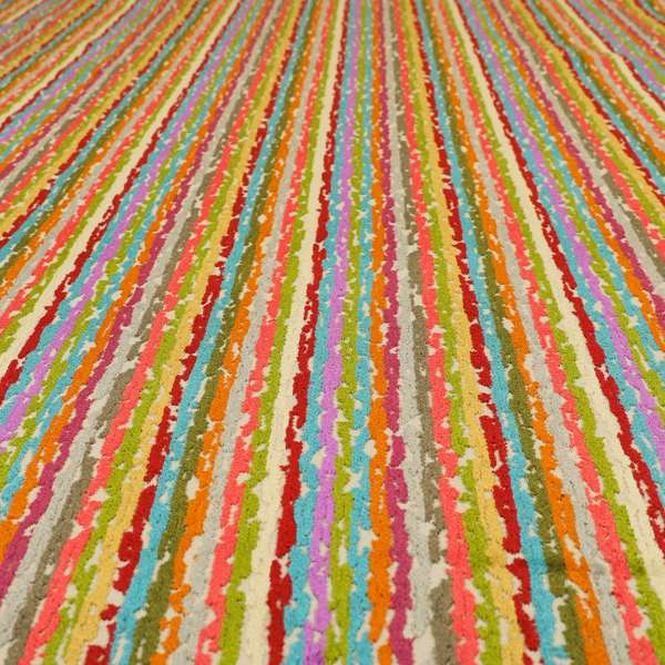 Amazilia Velvet Collection Multi Coloured Geometric Abstract Striped Pattern Soft Velvet Upholstery Fabric JO-687