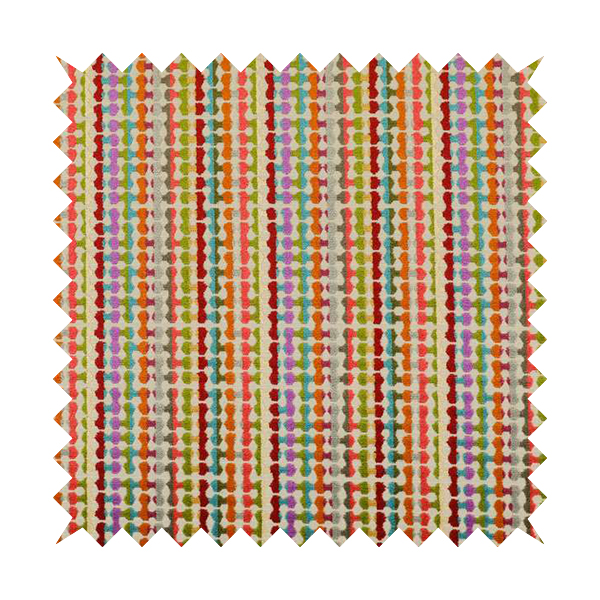 Amazilia Velvet Collection Multi Coloured Geometric Retro Pattern Soft Velvet Upholstery Fabric JO-688