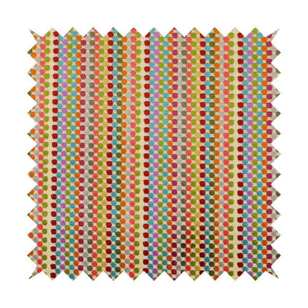 Amazilia Velvet Collection Multi Coloured Polka Dot Pattern Soft Velvet Upholstery Fabric JO-690