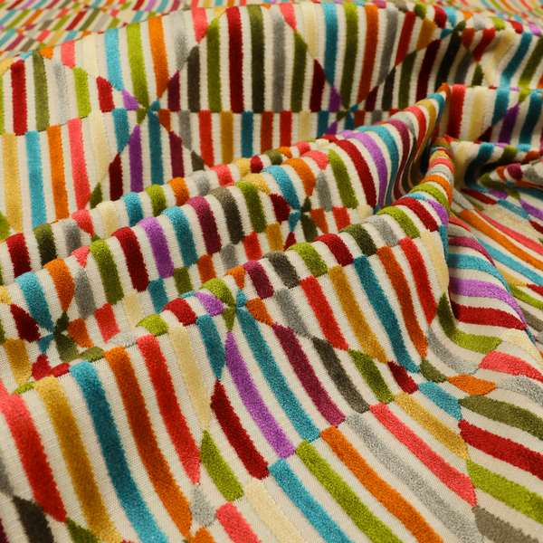 Amazilia Velvet Collection Multi Coloured Geometric Shape Pattern Soft Velvet Upholstery Fabric JO-691