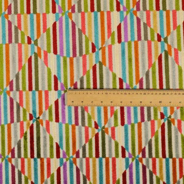 Amazilia Velvet Collection Multi Coloured Geometric Shape Pattern Soft Velvet Upholstery Fabric JO-691