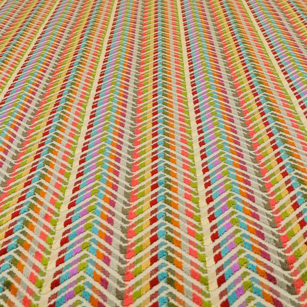 Amazilia Velvet Collection Multi Coloured Chevron Pattern Soft Velvet Upholstery Fabric JO-692