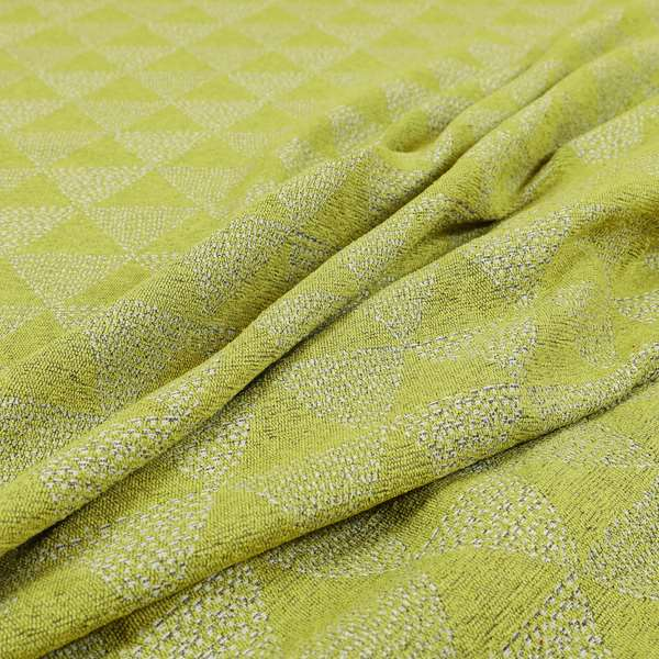 Piccadilly Collection Geometric Triangle Pattern Woven Upholstery Green White Chenille Fabric JO-698