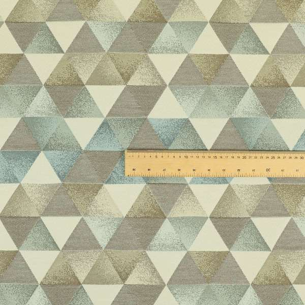 Le Triangle Collection Soft Feel Geometric Diamond Pattern Blue Grey Tone Colours Chenille Upholstery Fabric JO-78