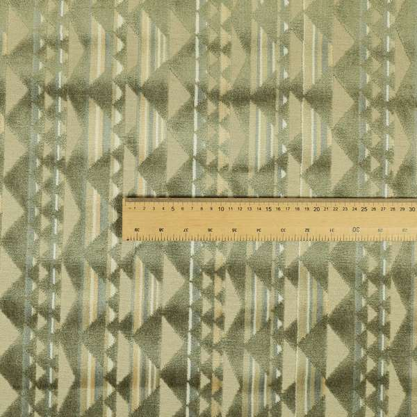 Le Triangle Pattern In Green Brown Colour Velvet Upholstery Fabric JO-823