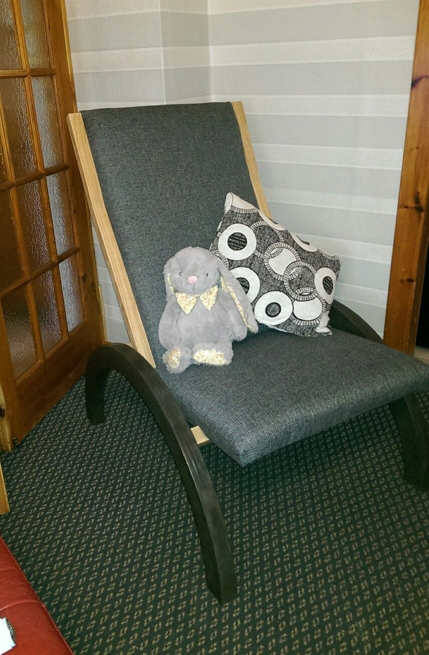 A Lazy Chair Upholstered In KarenGrey With Solitaire CTR-386 Cushions For Fabric