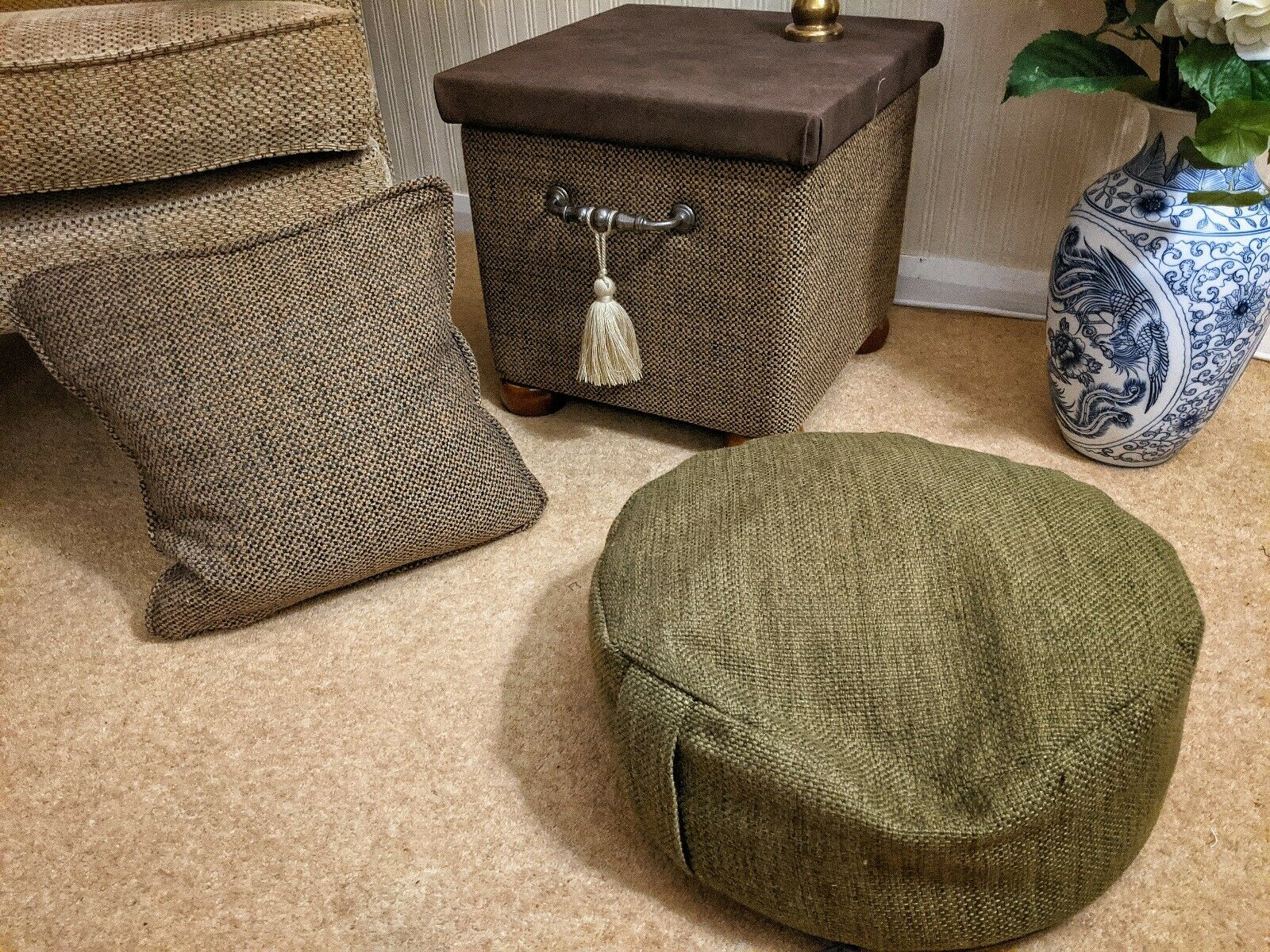 Footstool Upholstered Using Yorkshire Fabric Shops Romeo & Verona Romeo60 Verona30