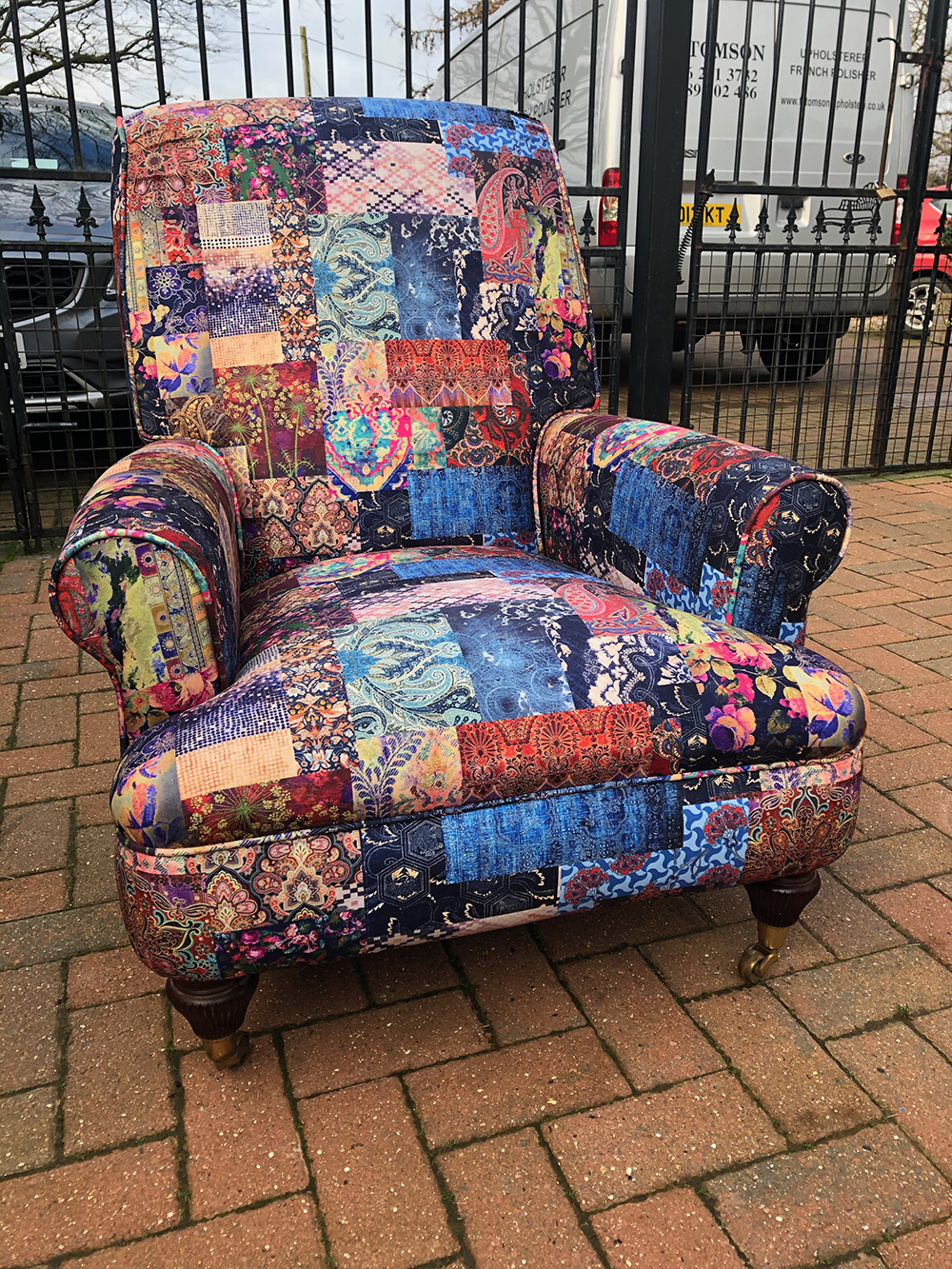 Linda Upholstered A Chair Using CTR66 Patchwork Fabric