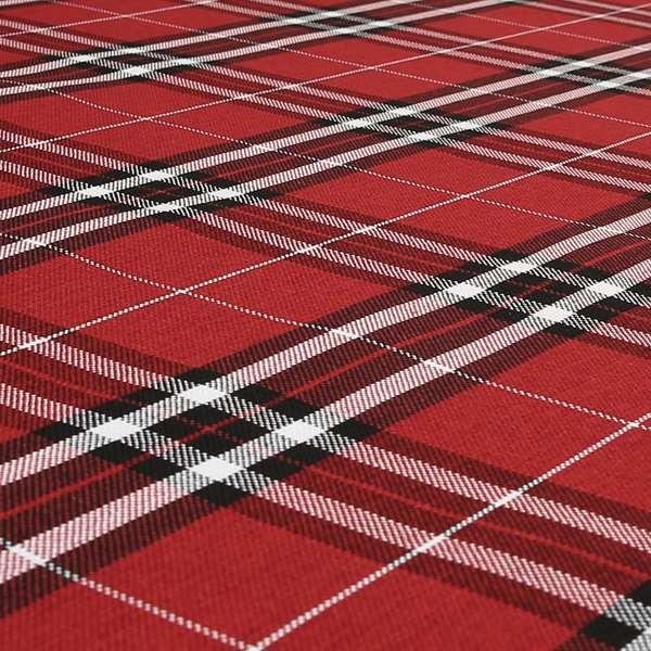 Louise Scottish Inspired Tartan Design Chenille Upholstery Fabric Red Colour