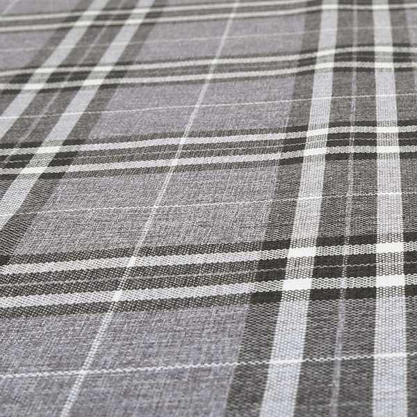 Louise Scottish Inspired Tartan Design Chenille Upholstery Fabric Light Grey Colour