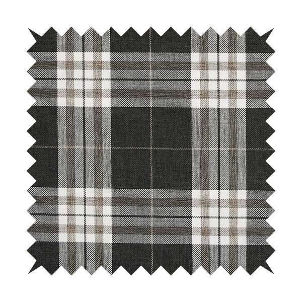 Louise Scottish Inspired Tartan Design Chenille Upholstery Fabric Black Colour
