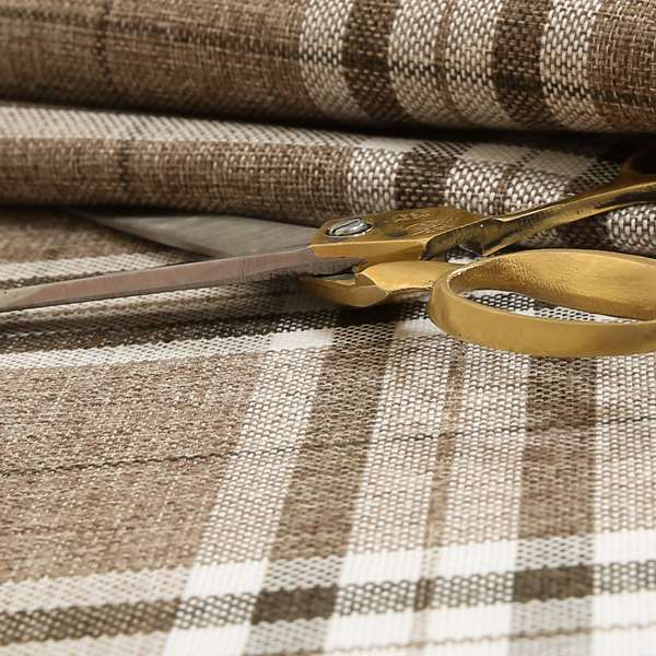 Louise Scottish Inspired Tartan Design Chenille Upholstery Fabric Light Brown Colour