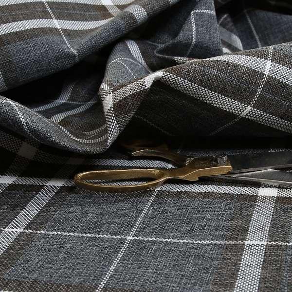 Louise Scottish Inspired Tartan Design Chenille Upholstery Fabric Dark Charcoal Grey Colour