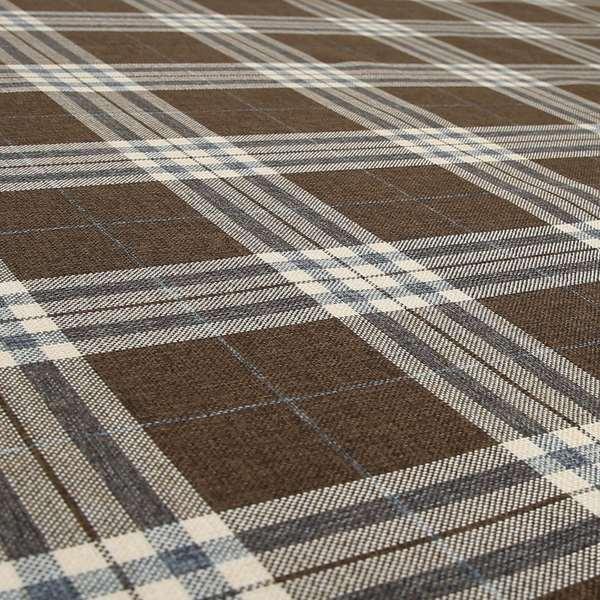 Louise Scottish Inspired Tartan Design Chenille Upholstery Fabric Brown Colour