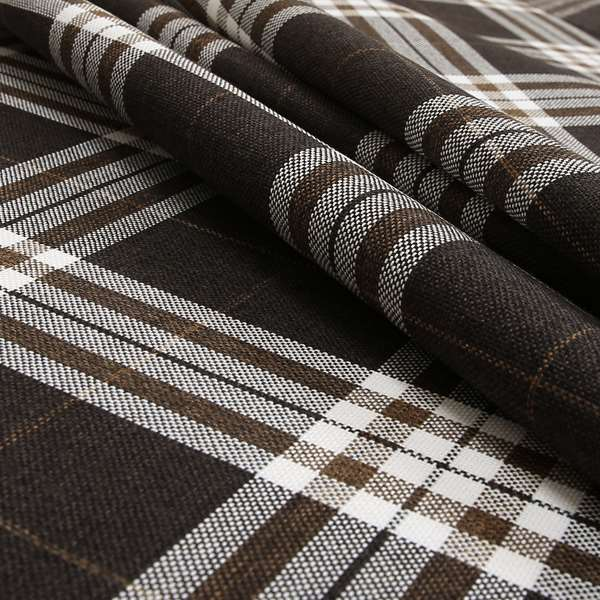 Louise Scottish Inspired Tartan Design Chenille Upholstery Fabric Chocolate Colour