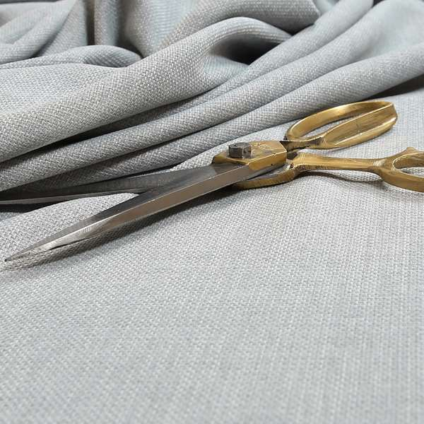 Ludlow Linen Effect Designer Chenille Upholstery Fabric In Silver Colour