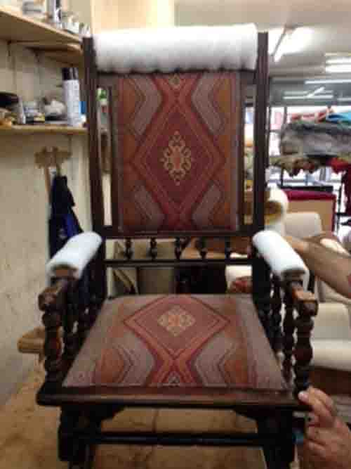 Mary Ann Restores An Old Chair In JO-219 Kilim Upholstery Fabric