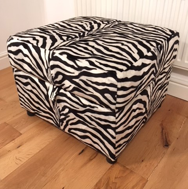 AnimalFur20 Zebra Fabric Footstool