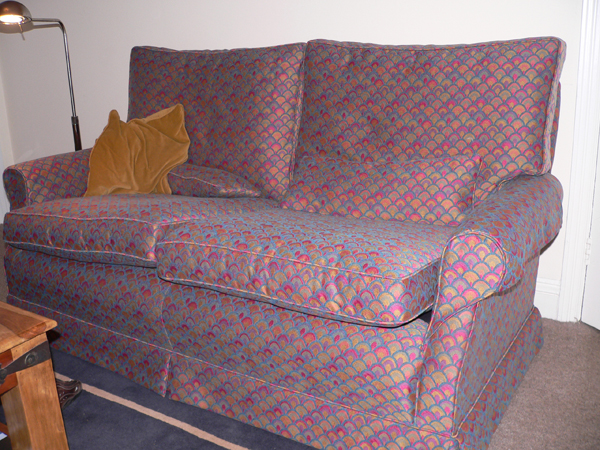 We Are Very Pleased With Our Recovered Settee Using The Peacock CTR-284 Upholstery Fabric