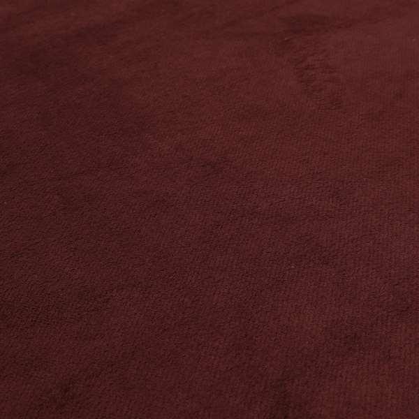 Oscar Deep Pile Plain Chenille Velvet Material Ruby Red Colour Upholstery Fabric