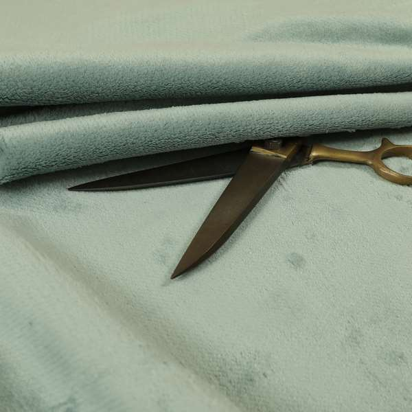 Oscar Deep Pile Plain Chenille Velvet Material Green Mint Colour Upholstery Fabric