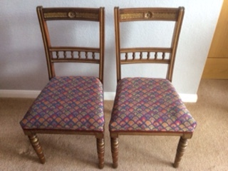 Pat Used Peacock CTR-284 Fabric To Upholster Pair Of Chairs