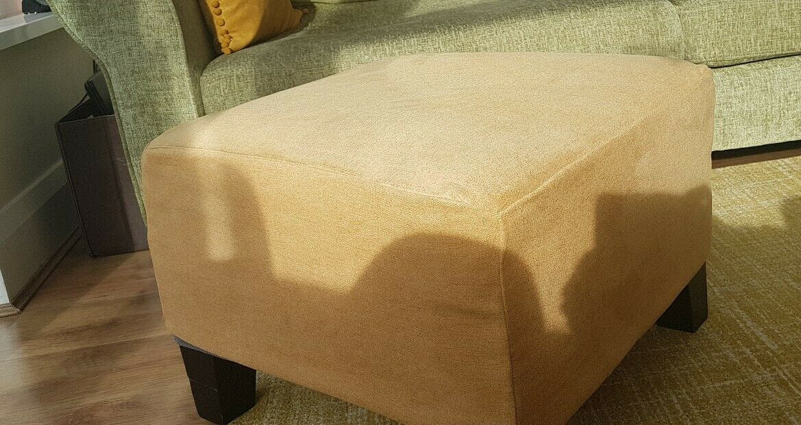 Rachel110 Fabric Gold Footstool By Customer