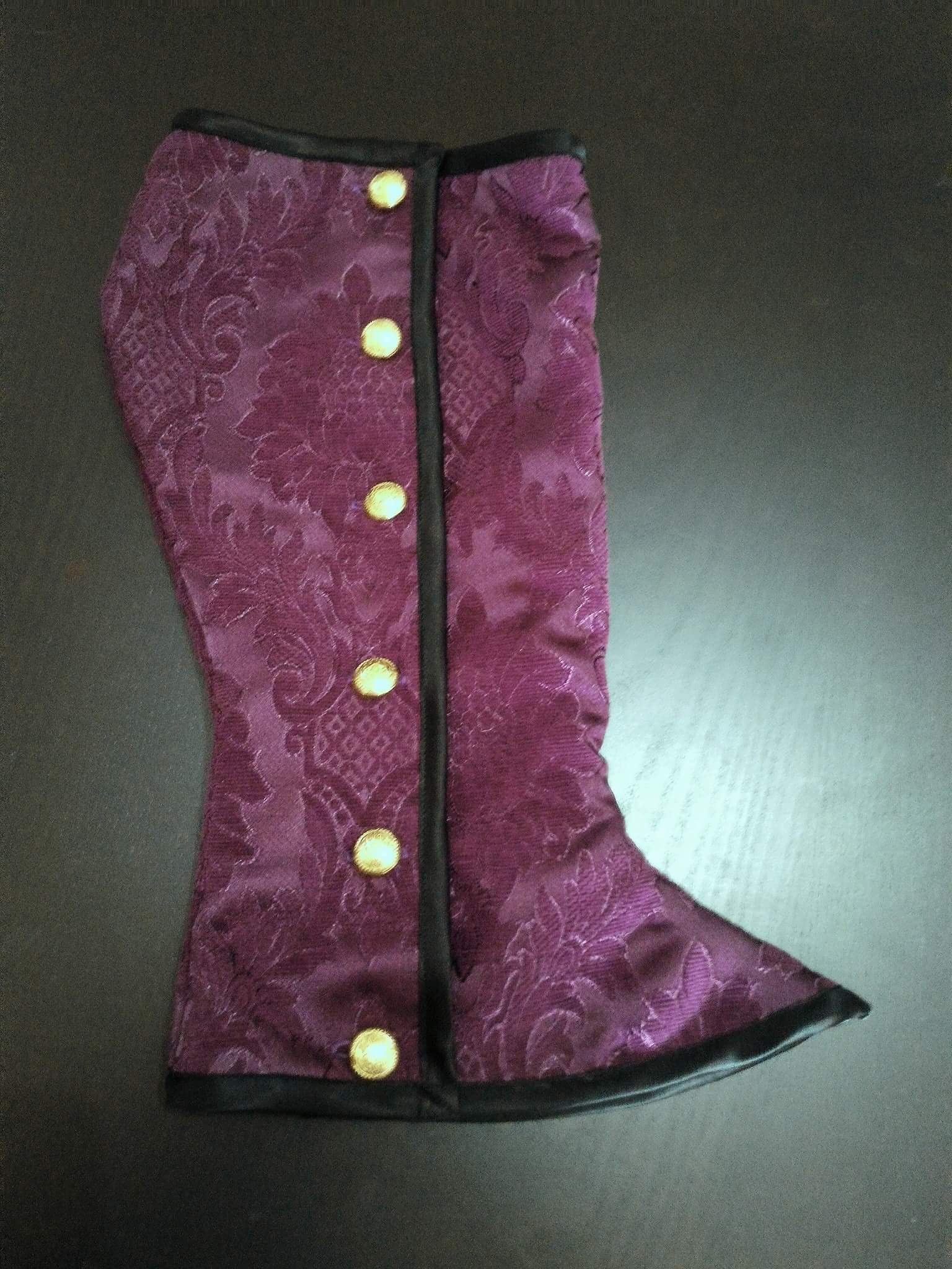 Anook CTR-136 Purple Damask Velvet For Victorian Spats By Raven Threads Lab