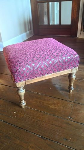Sharon Pink Chenille JO-332 Pattern Fabric Footstool