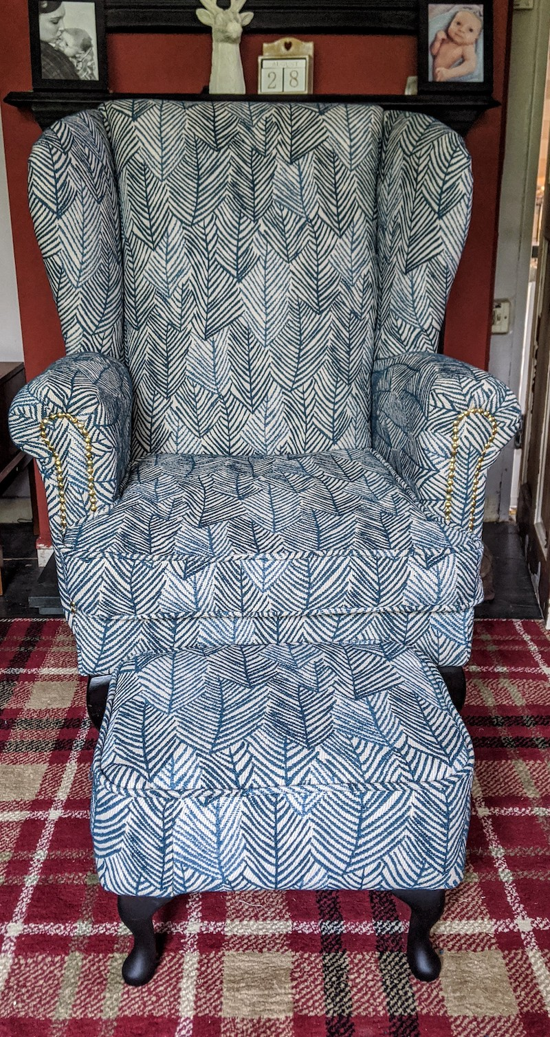 Stacey Upholstered A Wing Chair Using JO-530 Fabric
