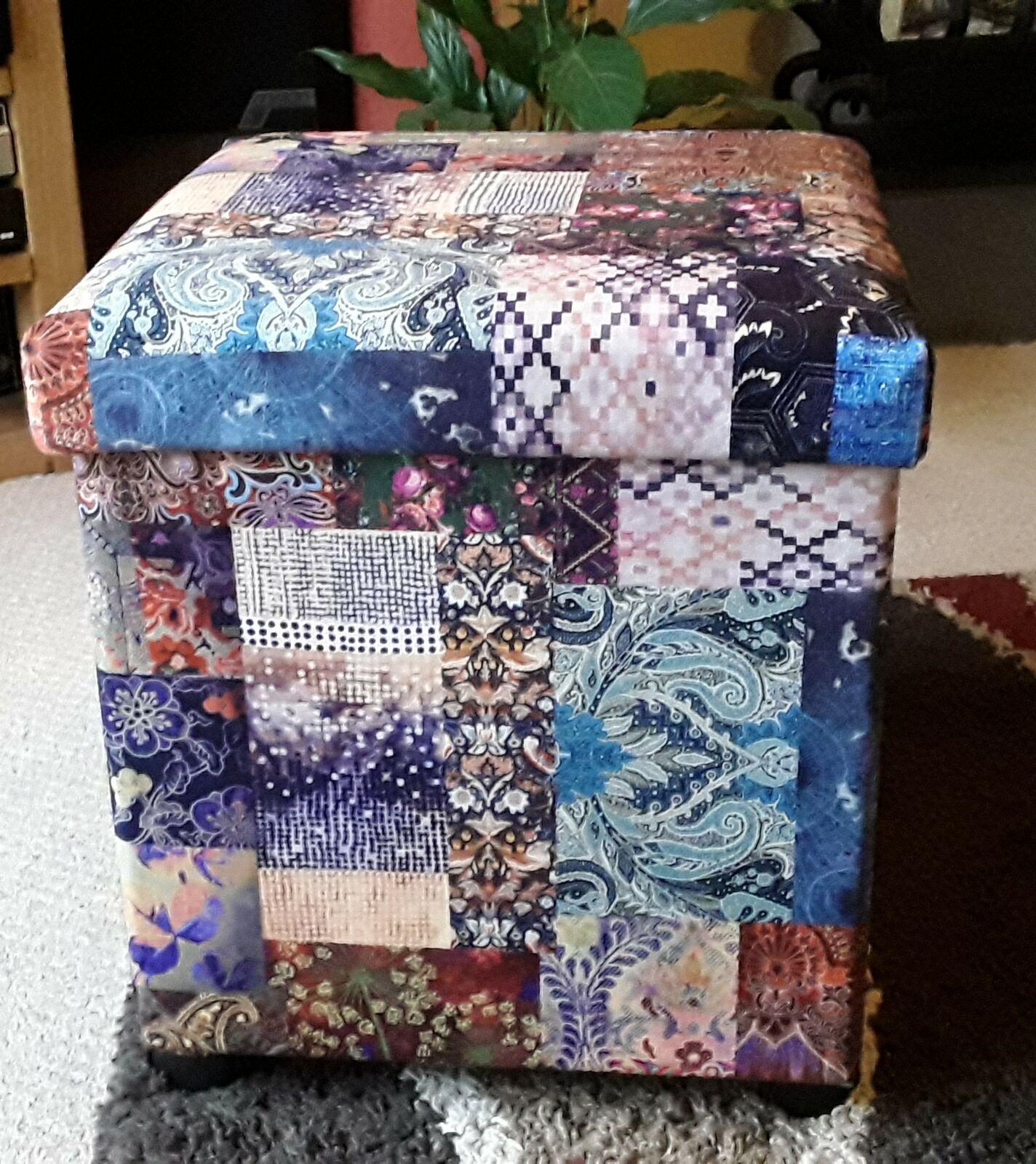 Sue Reupholstered A Footstool Using CTR-66 Freedom Patchwork