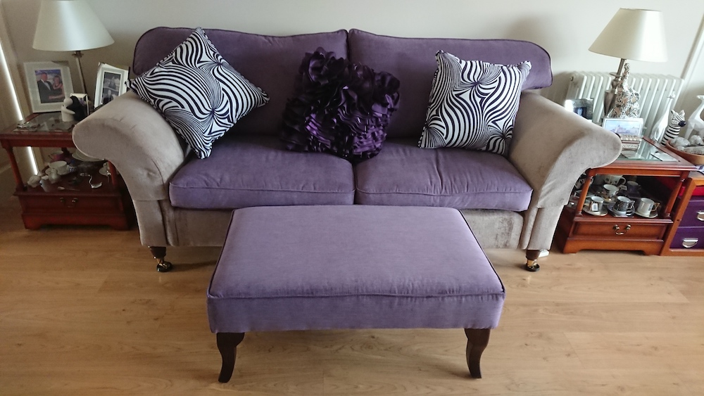 Revamped Settees CTR-581 Anchorage Zebra Fabric With Earley50 Purple